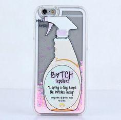Para iphone 7 6 6 s plus 5 5S se glitter coração cadela repelente líquido spray de caso