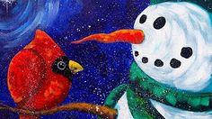 acrylic snowman painting - YouTube