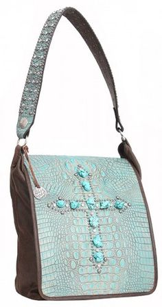 0797fee03a01 Turquoise   Brown Cross Messenger Tote by Double J Saddlery Gem Stones