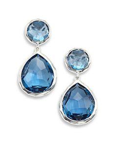 IPPOLITA - Rock Candy London Blue Topaz & Sterling Silver Snowman Post Earrings