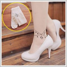 d913edb6e Buy  Clair Fashion – Anklet Print Sheer Tights  with Free International  Shipping at YesStyle