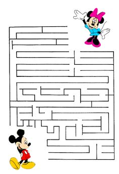 Find your way through these printable mazes, with Anna and Elsa, Mickey and Minnie Mouse and other Disney characters. Maze Worksheet, Preschool Worksheets, Preschool Activities, Printable Mazes, Disney Activities, Mazes For Kids, Disney Printables, Disney Fun, Disney Games For Kids