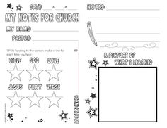 This worksheet will be a useful tool in keeping your child engaged during Church services. This sheet will also help kids as they are able to pract. Kids Sunday School Lessons, Sunday School Crafts, Church Activities, Bible Activities, Sunday Sermons, Childrens Sermons, Kids Church, Church Ideas, Sermon Notes