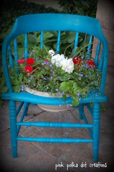 Turquoise with red, white & blue flowers