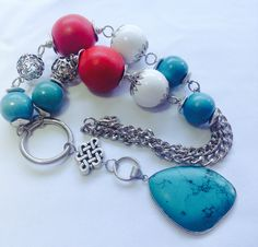 Chunky Y-necklace in turquoise, red and white. Wood, turquoise and metal on chain - Michela Rae