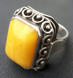 Amber butterscotch Bernstein Ring 835er Silber antik art deco Fischland eckig