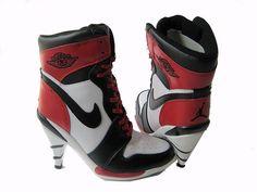 Air Jordan 1 High Heels in White/Black/Red Jordan Heels, Jordan Boots, Cheap Jordan Shoes, Nike Shoes Cheap, Air Jordan Shoes, Cheap Nike, White High Heel Boots, Black And White Shoes, Black High Heels