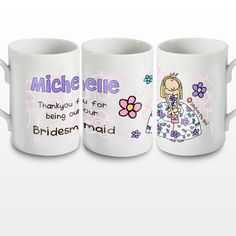 A cute thank you gift for your bridesmaid - Personalised Bang on the Door Wedding Girl Mug - Olive and Finch