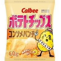 Calbee Potato Chips. Konsome Punch flavor (Mixed soup of Chicken, Pork, Beef). The ingredients are 100% Japanese potato and popular salt.