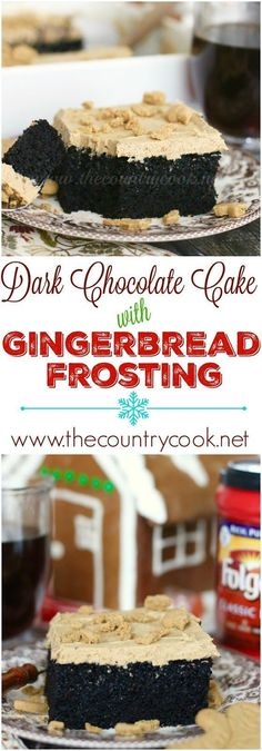 Dark Chocolate Cake with Gingerbread Frosting recipe from The Country Cook. I think this is one of the most moist homemade chocolate cakes I have ever made! This is the perfect chocolate cake and goes great with any kind of frosting!