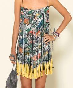 floral print fringe dress