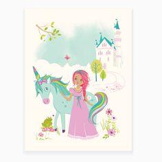 Princess & Unicorn Art Print