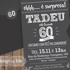 Convite Impresso 10x15 - Festa Surpresa! Envelopes, Papel Color Plus, Chalkboard Quotes, Art Quotes, Calm, Male Birthday, Neon Party, Digital Invitations, Invitation Birthday