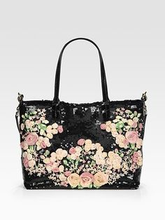 Black bag with pastel pink sequin flowers from Valentino.