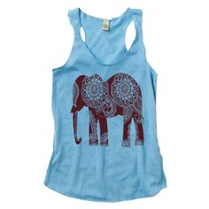 Elephant Tank Top - Blue with Brown Elephant