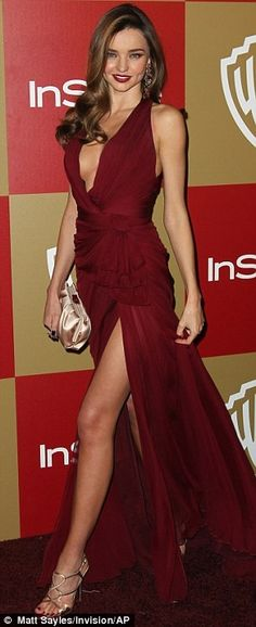 Miranda Kerr's red, Grecian-inspired Zuhair Murad gown was not a dress but a mere hanky ~ Golden Globes After Party 2013