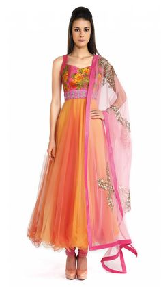 Peach and Yellow Floral Anarkali