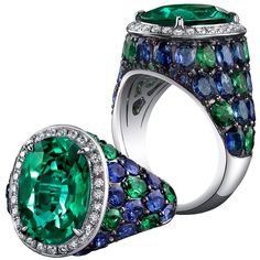 Robert Procop ~ Ring in White Gold with a Zambian Emerald Center Stone, Surrounded by Tsavorites, Sapphires and Diamonds