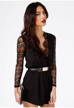 Wrap Playsuit - I like the use of the lace on the sleeves it stops it from looking exactly like any other playsuit.