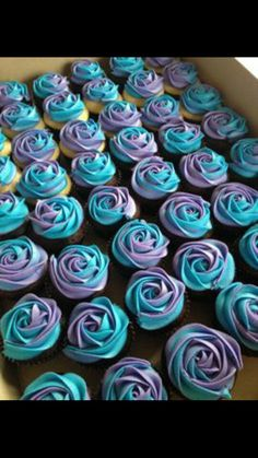 Love this look I want to do cupcakes instead of a big wedding cake. Blue and purple wedding cupcakes Purple Wedding Cupcakes, Blue Purple Wedding, Turquoise And Purple, Wedding Cakes, Blue Bridal, Wedding Colors, Purple Turquoise Weddings, Lavender Cupcakes, Peacock Wedding Cake
