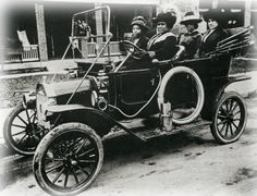 """Madam C.J. Walker and several friends in her automobile. """"She was the first woman in America to become a millionaire by her own endeavors, as well as the first African American millionaire...She made her fortune by developing and marketing a successful line of beauty and hair products for black women under the company she founded, Madam C.J. Walker Manufacturing Company."""""""