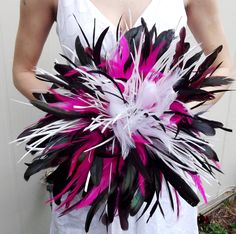 DRAMATIC Coque Feather Bridal Bouquet - Fuchsia Hot Pink Black and White or Custom Bride WEDDING COLORS - Goose Rooster Feathers Bouquets. $95.00, via Etsy.