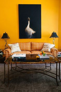 55 Bright And Colorful Living Room Design Ideas is part of Living Room Yellow Walls - Keep in mind that while you choose the interior design tips for apartments, you have to make sure that adding […] Living Room Decor Orange, Colourful Living Room, Yellow Walls Living Room, Living Rooms, Yellow Rooms, Orange Rooms, Room Paint Colors, Paint Colors For Living Room, Ok Design