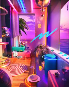 Prateek Vatash is a graphic artist based in Bangalore, India. He shared on his Behance, an illustration series entitled: Space Escape. Vaporwave, Neon Aesthetic, Aesthetic Rooms, Diner Aesthetic, Sneakers Art, Wallpaper Animes, Instalation Art, Neon Room, Retro Room