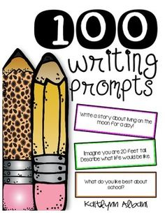 """Over+100+Writing+Prompts! Writing+checklist+bookmarks+for+students+to+use+as+your+students+write. Includes+cut+out+prompts+that+you+can+laminate+and+throw+into+a+jar+for+students+to+pick+from+when+they+are+having+""""student+writers+block"""" You+can+also+pass+them+out+to+students+for+writing+topics."""