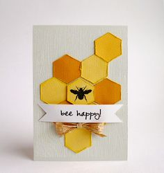 handmade card with hexagons: bee happy! by ..::aga::.. ... luv the large honey-colored hexagon pattern from die cuts with one lone bee ...
