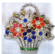 A present to Princess Elizabeth from her parents in 1948 to mark the birth of Prince Charles.  Cartier Flower Basket Brooch