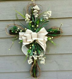 Easter Cross Floral Cross Cross Door Hanger by BlueMountainBurlap Easter Wreaths, Holiday Wreaths, Cross Door Hangers, Cross Wreath, Diy Spring Wreath, Spring Door Wreaths, Diy Ostern, Easter Cross, Funeral Flowers