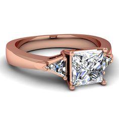 Princess Cut & Trillion Shaped Diamonds 14k Rose Gold Three Stone Engagement Ring In Prong Setting    Trinity Ring