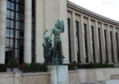 This bronze statue of Apollon Musagete can be found at Palais Chaillot on its right side, showing the detail which can gone into it along with the many windows which can be seen on the building.  See more www.eutouring.com