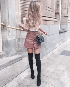 Cute School Outfit With Faux Suede Skirt ★Lo. - - Cute School Outfit With Faux Suede Skirt ★Looking for some trendy and cute outfits for school? Summer Fashion Outfits, Cute Summer Outfits, Teen Fashion, Stylish Outfits, Fashion Ideas, Fashion Trends, Classy Outfits For Teens, Modern Outfits, Stylish Clothes