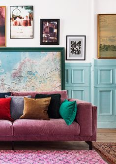 Boho vibes | pink velvet sofa with velvet cushions | blue wall panelling | IKEA Nockeby sofa with a velvet Bemz cover COMING SOON!