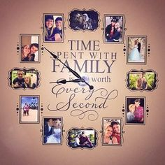 Time Spent Clock - Family is Worth Every Second - Photo Wall Clock w/working clock parts/hands decal - Includes VINYL FRAMES 4 x 6 Picture Clock, Photo Wall Clocks, Photo Clock, Picture Wall, Picture Frames, Vinyl Frames, Vinyl Decals, Wall Decals, Wall Clock Decal