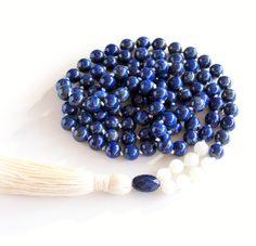 Lapis Lazuli Mala Necklace Moonstone Mala 108 by BBTresors on Etsy