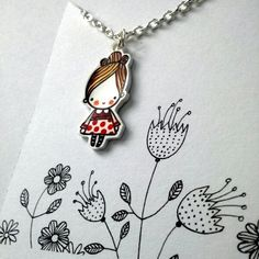 Shrink plastic cute little girl in a red spotty dress pendant necklace £7.00