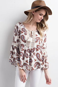 Paisley Printed Crochet Lace Bell Sleeve