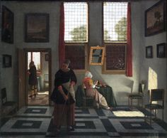 Interior with Painter, Woman Reading and Maid Sweeping. Pieter Janssens Elinga (1623–1682) was a Dutch Golden Age painter, mainly of domestic interior scenes with a strong emphasis on the rectangular geometrical elements of windows, floor tiling paintings, and other elements, and a few genre figures. He also painted still lifes. He was born in Bruges as the son of Gisbrecht Janssens, who probably taught him to paint. When he moved to Rotterdam in 1653, he changed his name to Elinga.