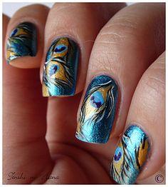 Pecock - Nature Nails Nail Art by Tenshi no Hana