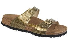 Papillio Sydney  Paillettes Gold Birko-Flor  Sale: $59   Reg. $79   Save 25%     Two thinner, contoured straps make this style very comfortable for those with prominent foot bones. Creative patterns and materials set the Papillio Sydney apart. The cork footbed is sculpted to match your arches providing support and all-day comfort. EVA soles are flexible, lightweight, durable and resoleable.