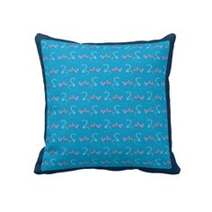Hearts and Snakes Blue Throw Pillow Art by Kids #zazzle