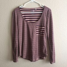 Worn once pac sun tripped shirt! This has only been worn once. Extremely cute striped shirt from pac sun. Looks great with boyfriend jeans. Machine wash. No PayPal, no trades  PacSun Tops Tees - Long Sleeve