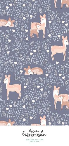 Pattern Sfondi Floral Deer - delicate pattern design for girls - silver background. Available i...