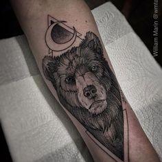 Urso em pontilhismo