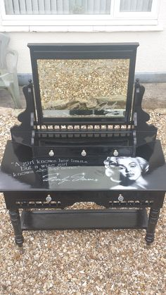 Refurbished Edwardian table, painted black, face airbrushed and quote added then lacquered Funky Furniture, Refurbished Furniture, Repurposed Furniture, Furniture Makeover, Furniture Decor, Painted Furniture, Marylin Monroe, Marilyn Monroe Decor, Black Gold Bedroom