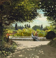 """proleutimpressionists: """" Monet's father The man reading his newspaper was Claude Adolphe Monet. The painter was his son, Oscar-Claude Monet. Pierre Auguste Renoir, Monet Paintings, Impressionist Paintings, Landscape Paintings, Landscape Art, Artist Monet, Cleveland Museum Of Art, Manet, Garden Painting"""