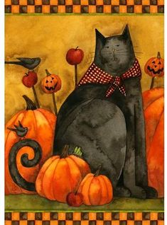 Evoking an abundance of country charm, the Toland Home Garden Folk Cat Flag features an adorable black cat and primitive pumpkin design. Rustic Halloween, Halloween Cat, Halloween Artwork, Halloween Clipart, Happy Halloween, Easy Painting Projects, Autumn Painting, Rock Painting, Cat Garden